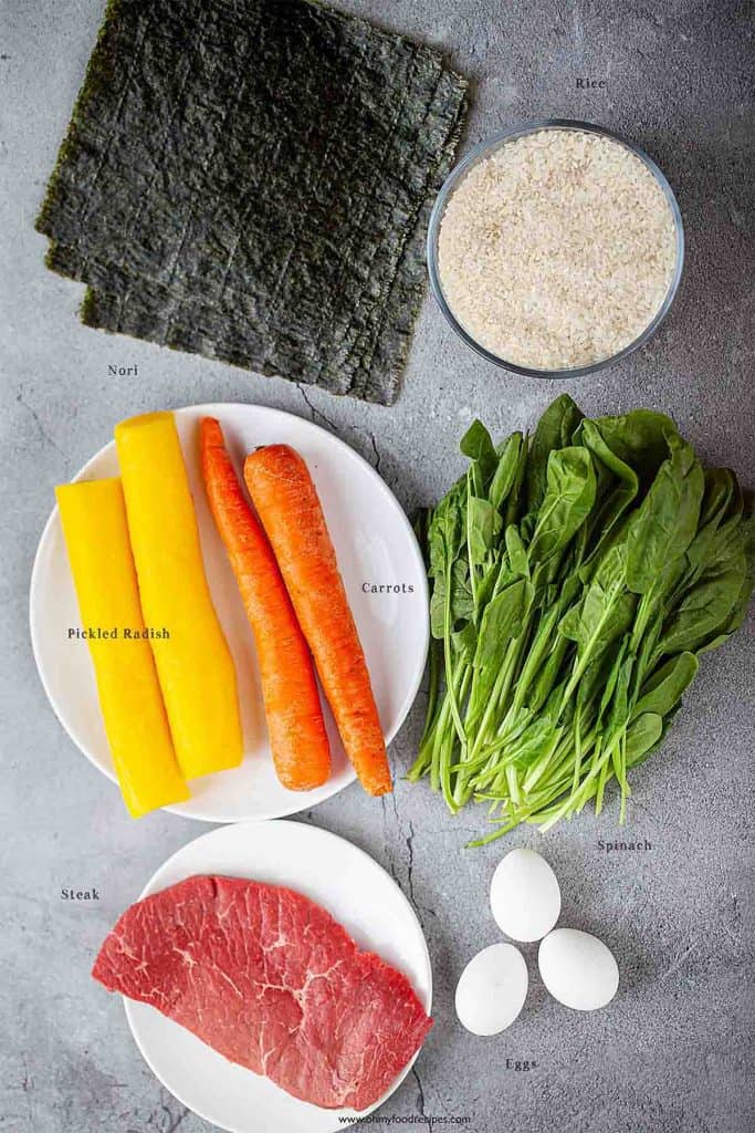 Korean sushi rolls ingredients