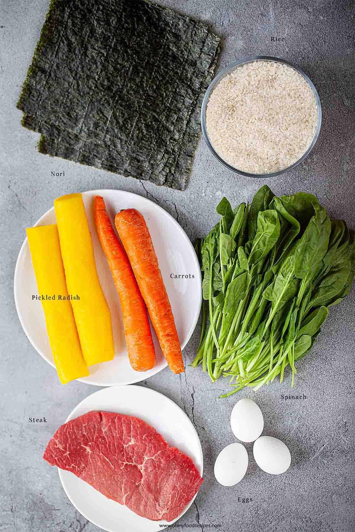 Korean sushi roll kimbap ingredients