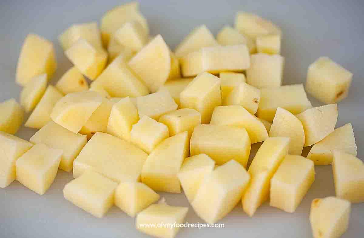 potatoes cut into dice