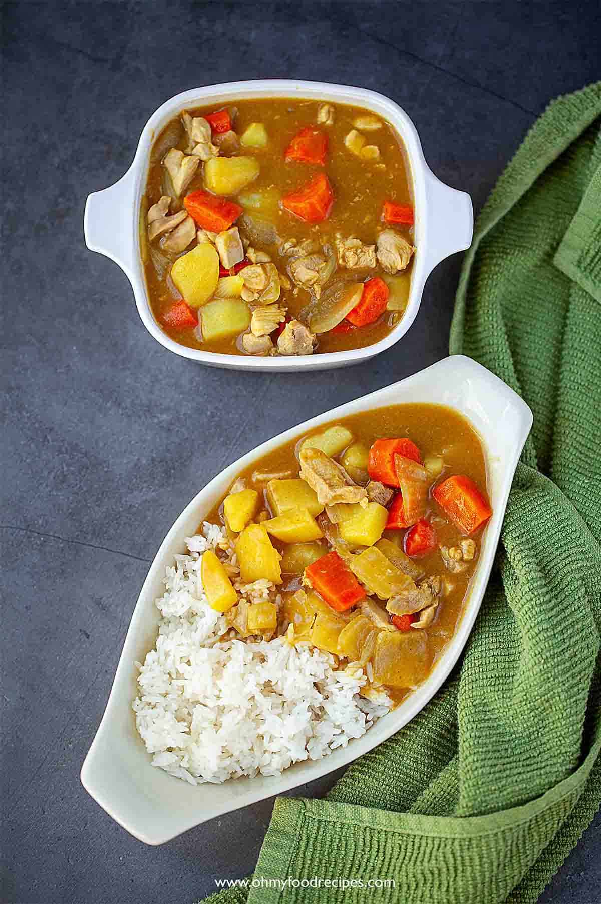 Japanese chicken curry rice top view
