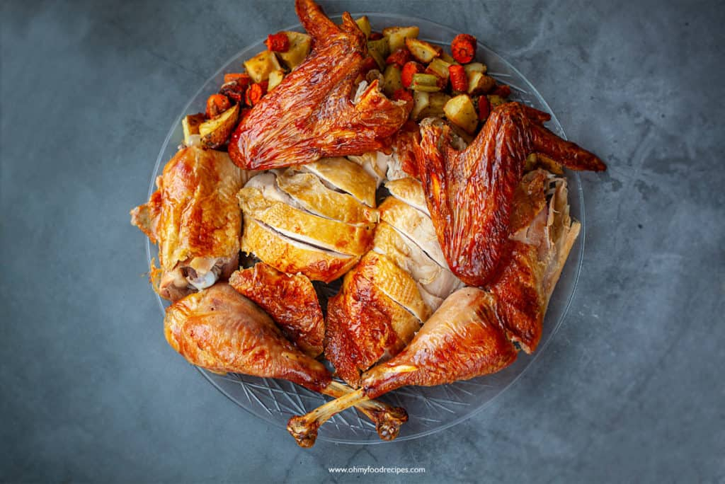 cut up Asian spices brined whole turkey