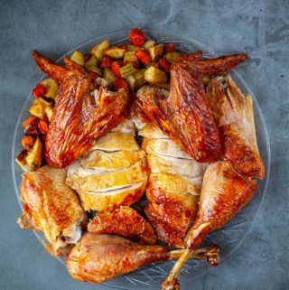 cut up and sliced roasted Asian style turkey