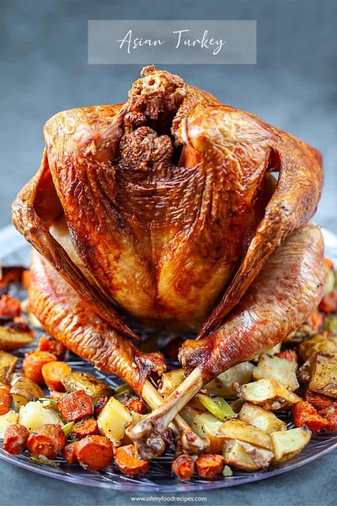 Asian seasoning roasted up straight whole turkey with roasted vegetables