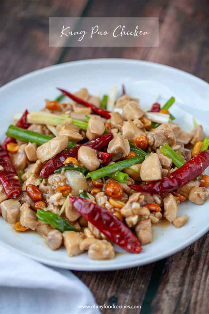 kung pao chicken on a white plate