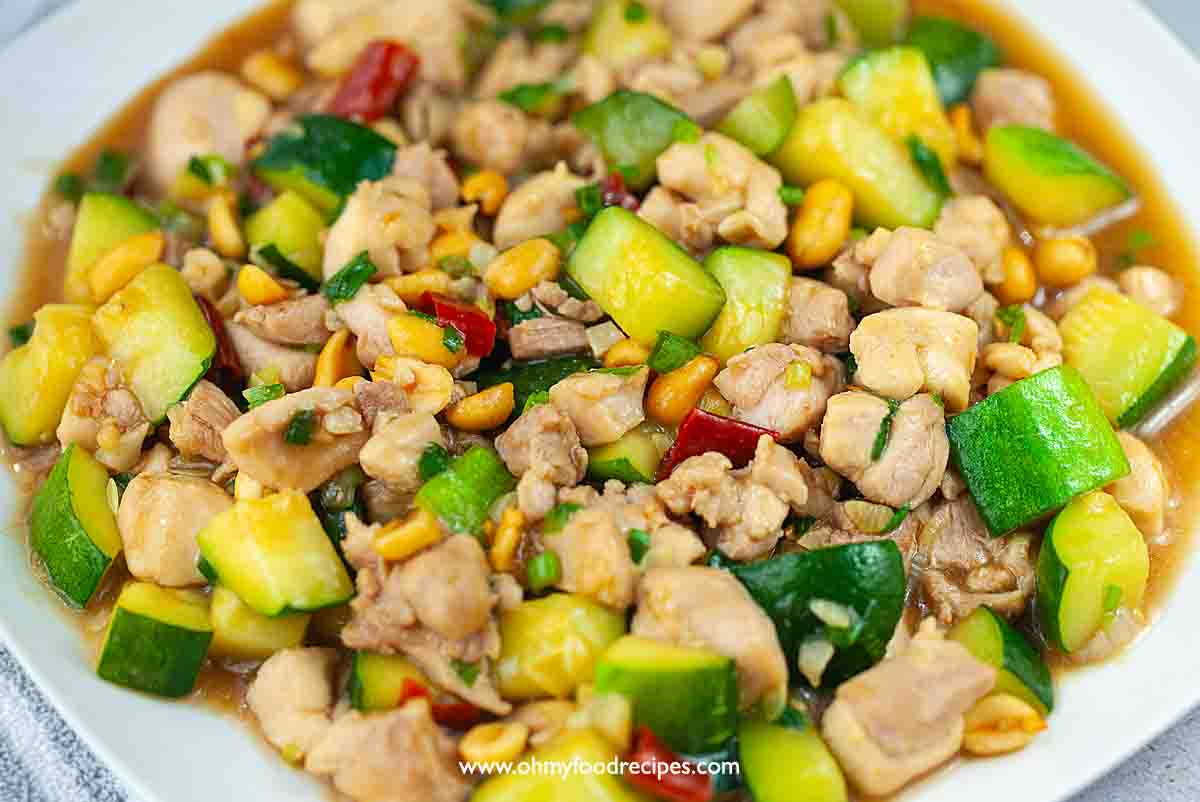 Chinese kung pao chicken close up