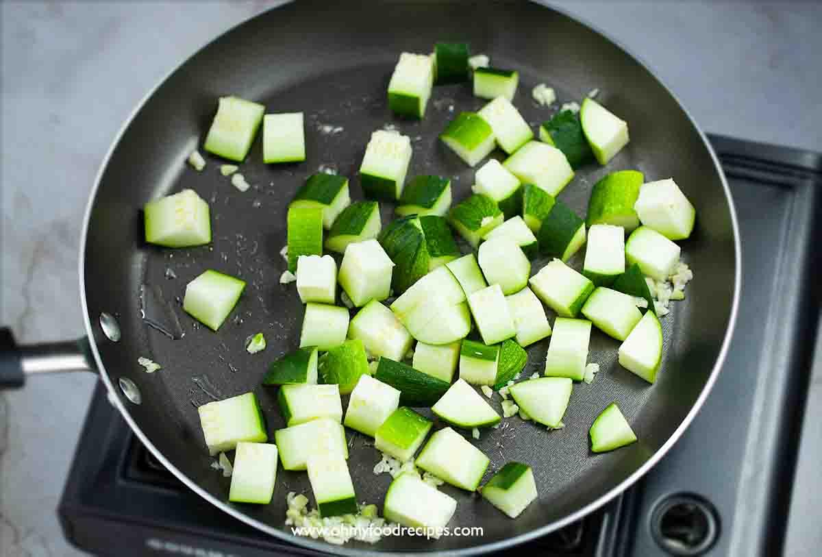 stir fry zucchini in the non stick pan