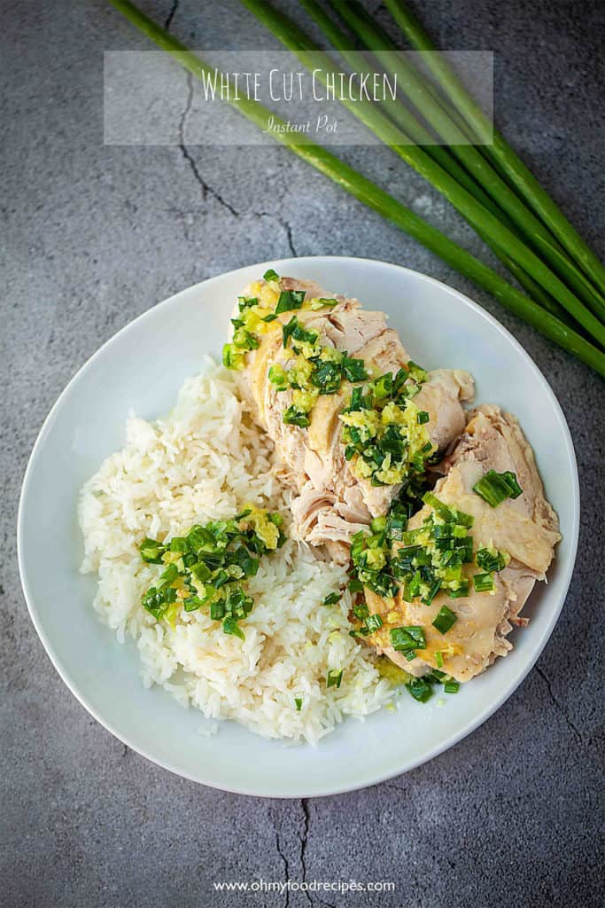 Cantonese white cut chicken rice with ginger scallion sauce top view