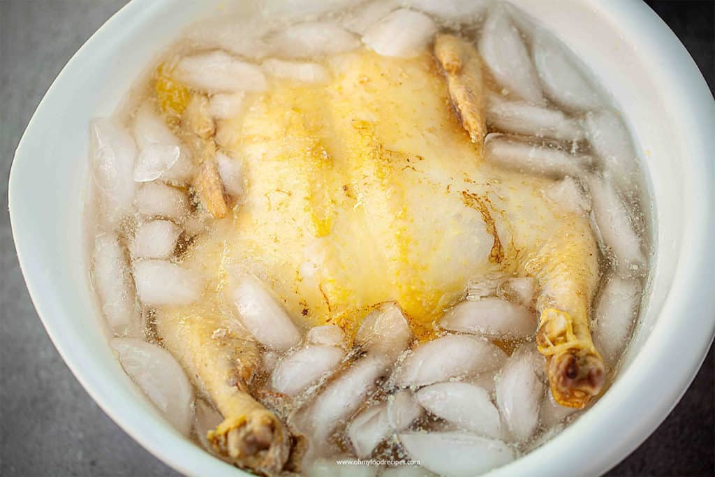 boiled chicken in an ice bath