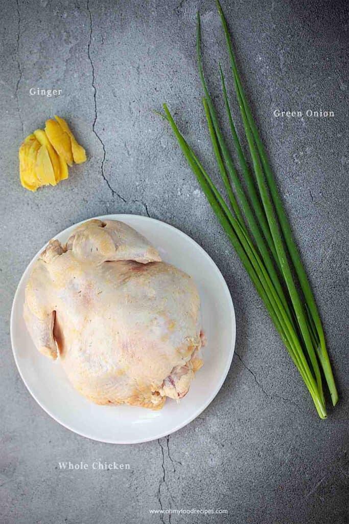 Cantonese white cut chicken ingredients