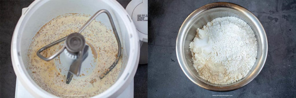 yeast mixture in mixer and flour mixture in a bowl