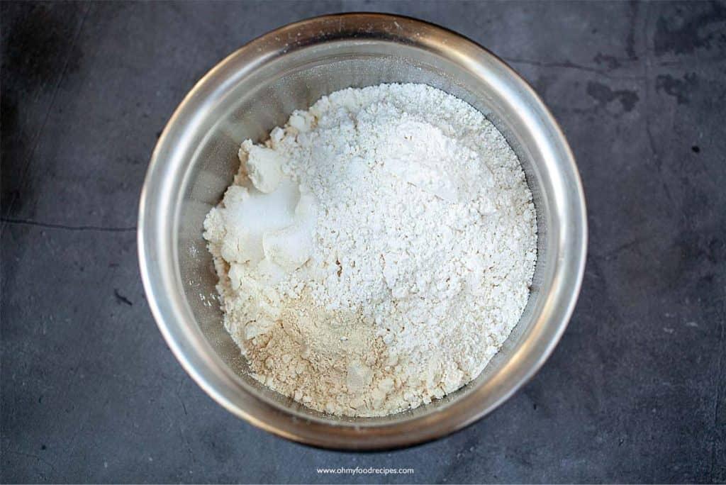 flour mixture in a sliver bowl