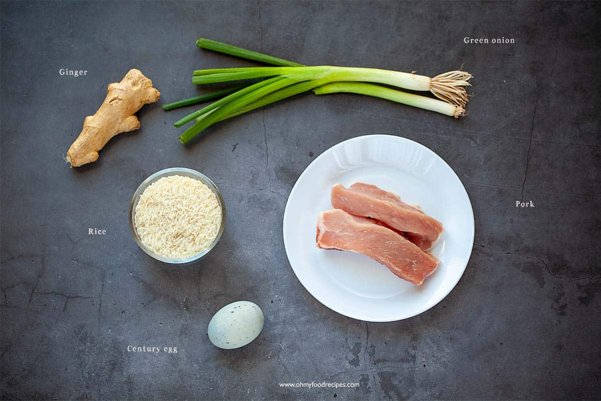 pork and century egg congee ingredients display