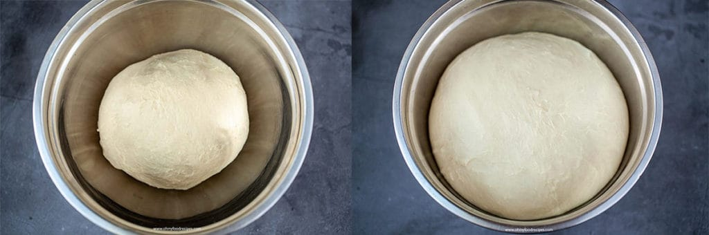 dough in a bowl and dough rise