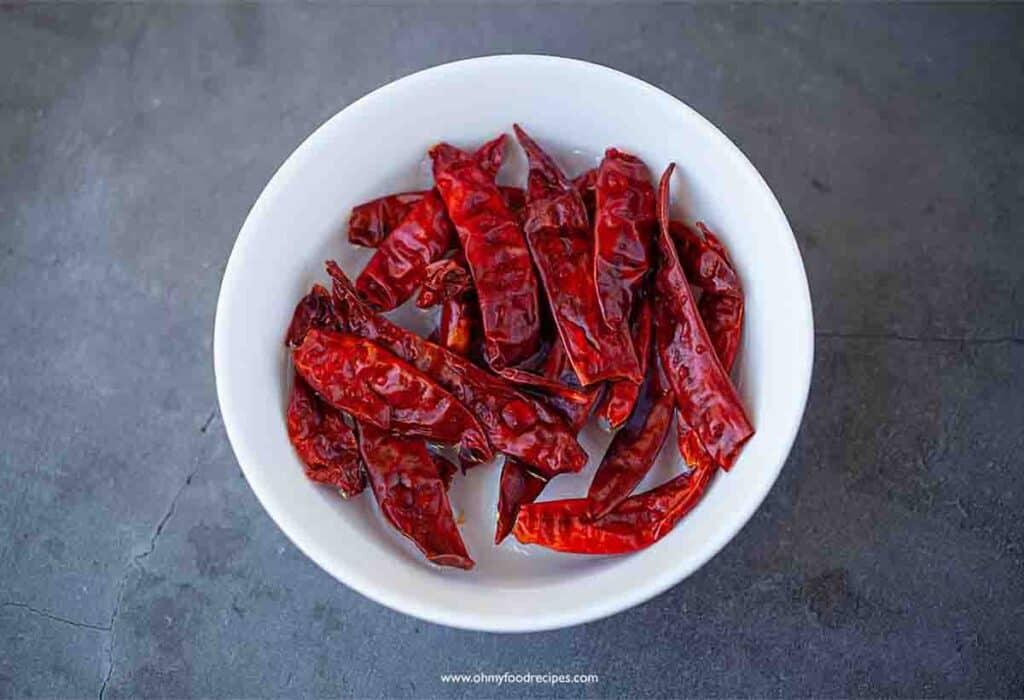 dried chili pepper soak in the bowl
