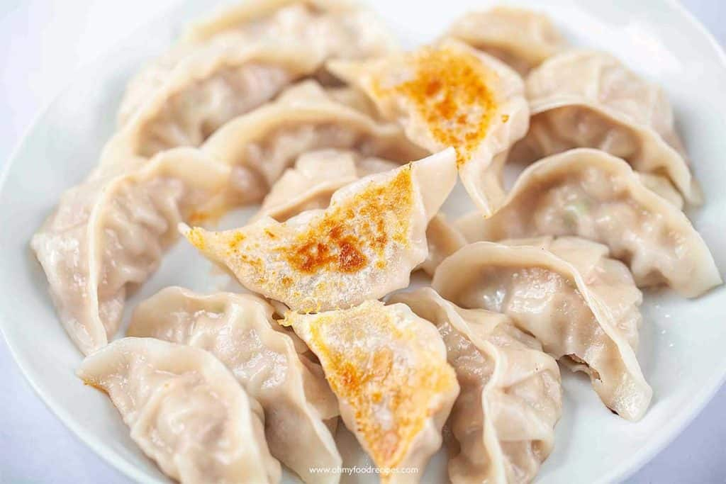 pan fried dumplings on a white plate