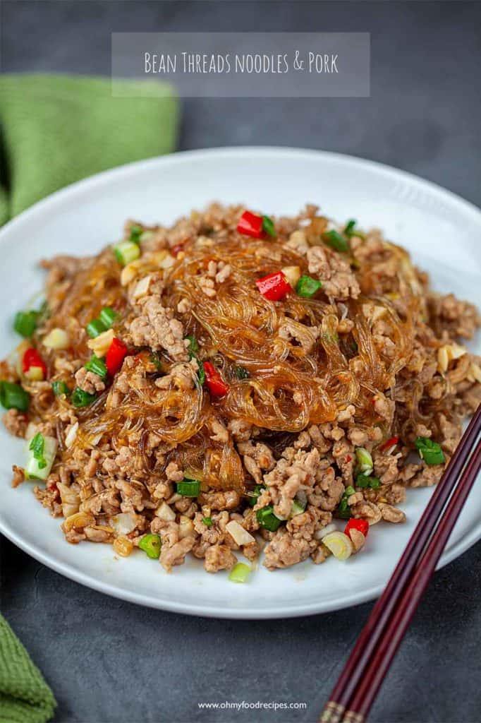 Ma yi shang shu (螞蟻上樹) on a white plate (Ants climbing a tree)