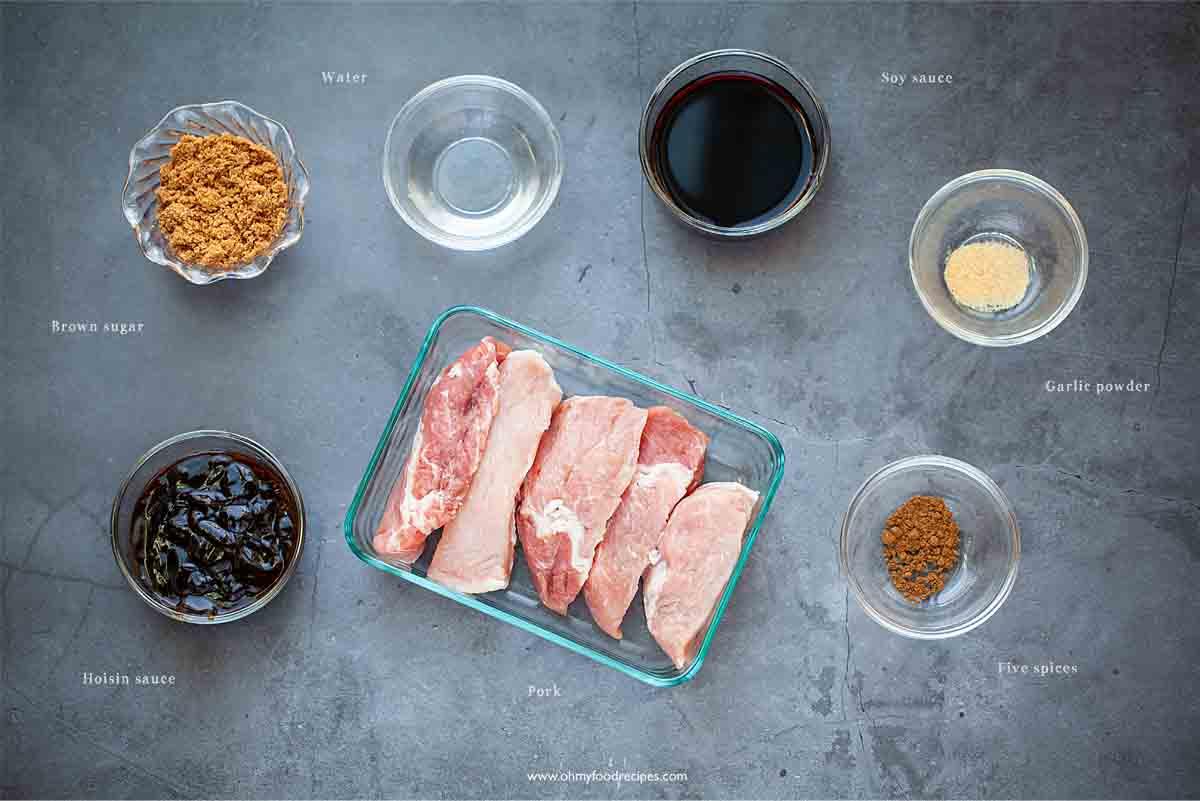 Chinese BBQ pork ingredients