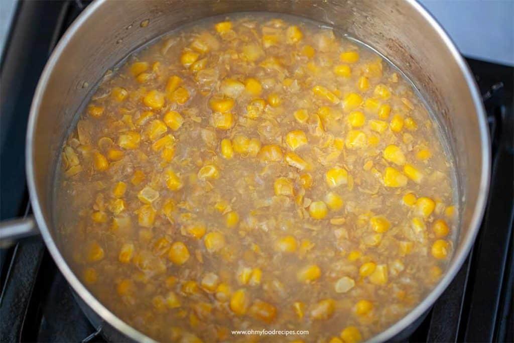 Corn and cream corn in a pot