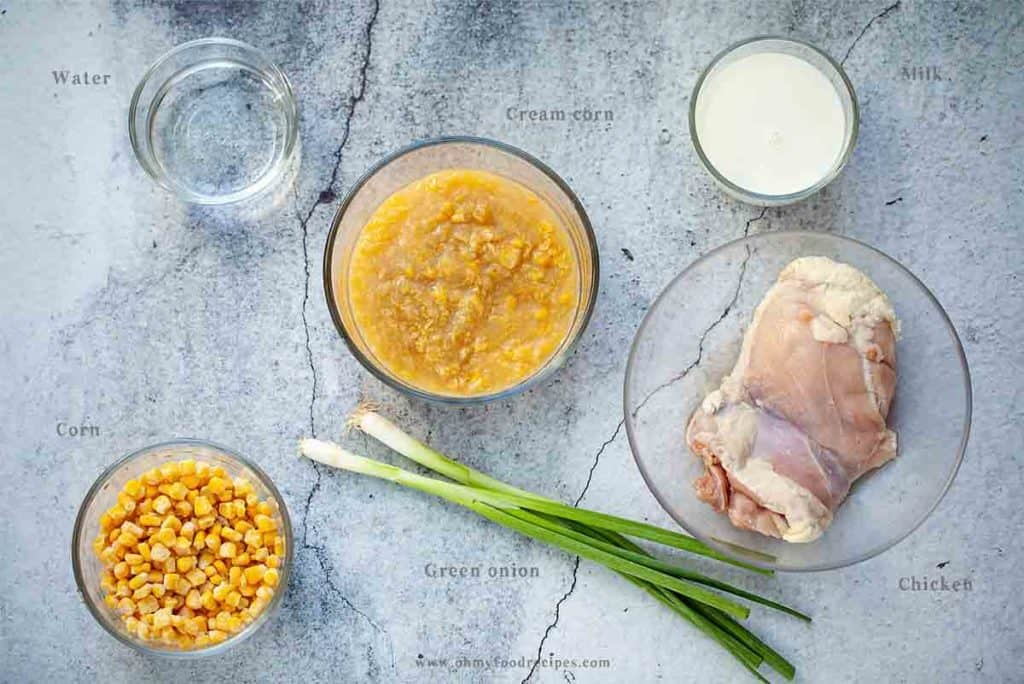 display chicken and cream corn ingredients