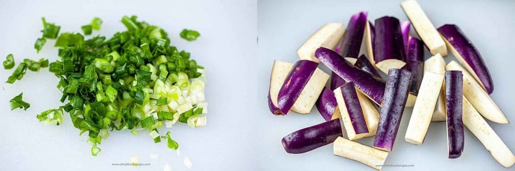 cut green onion and eggplants into strips