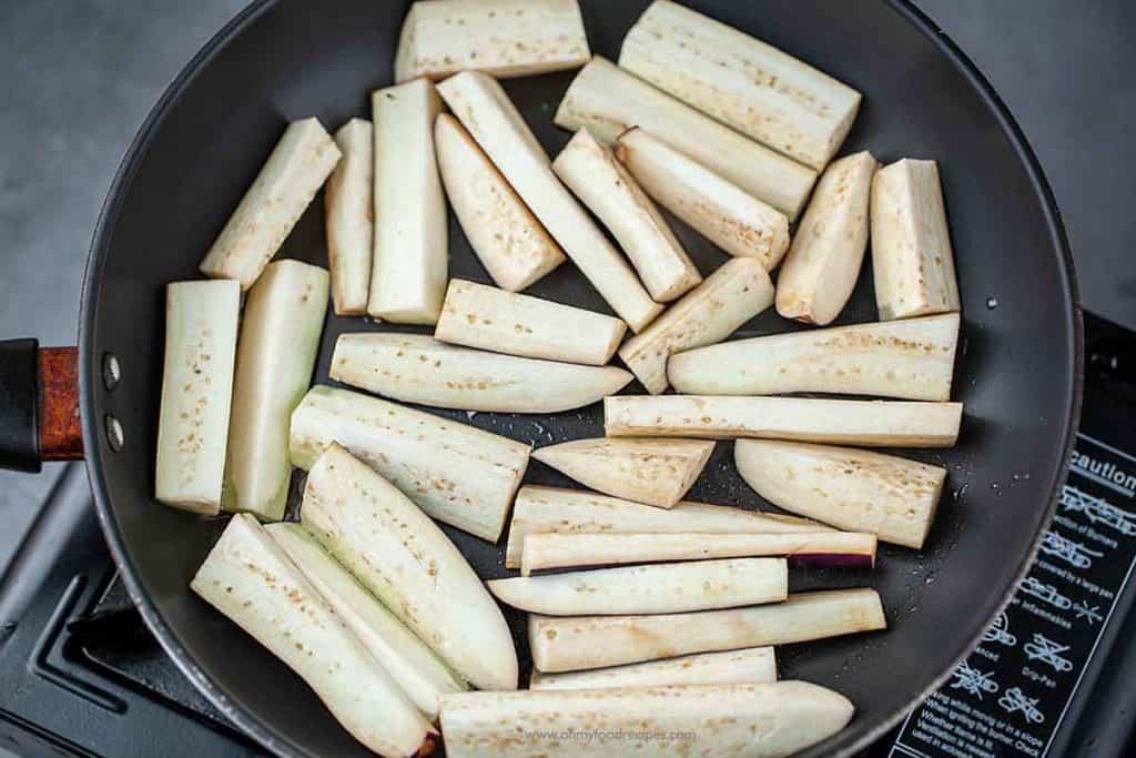 pan fried eggplants on a non-stick pan