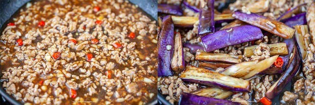 stir fry ground pork with sauce and eggplants