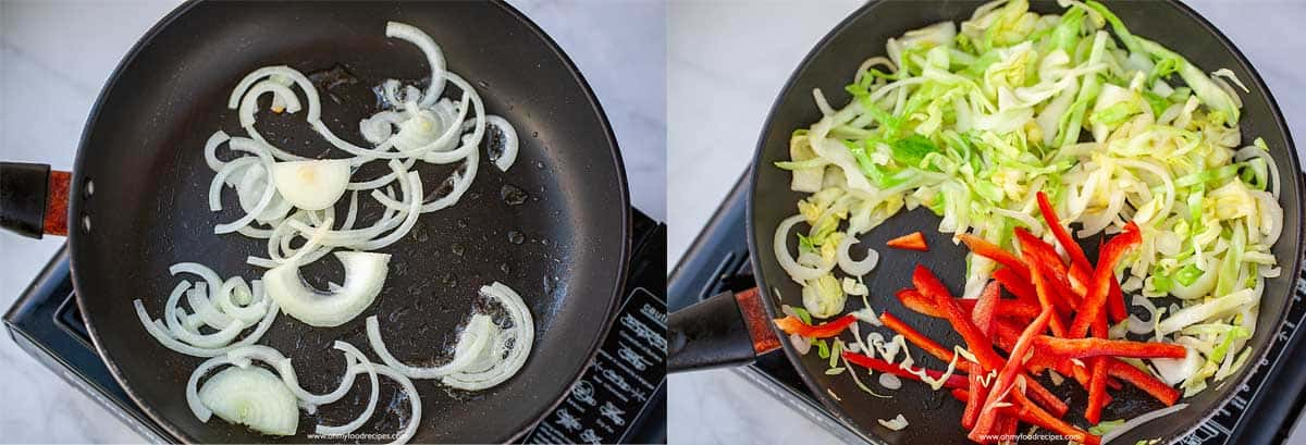 sitr fry onion, cabbage and red pepper