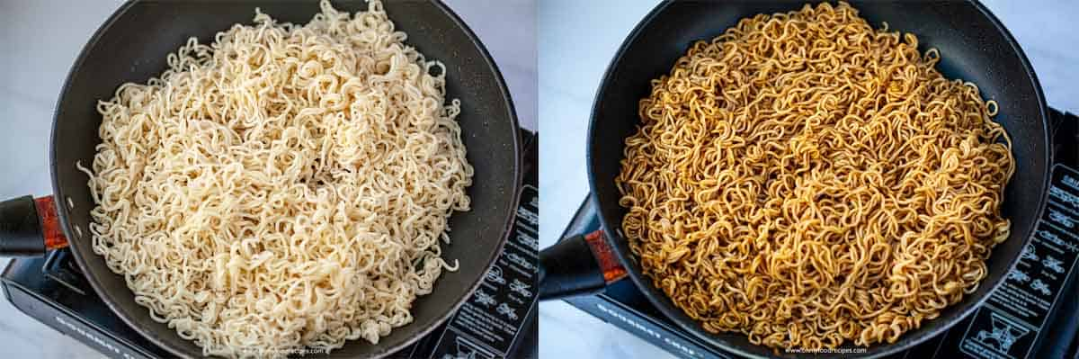 cooked instant noodles in a non-stick pan