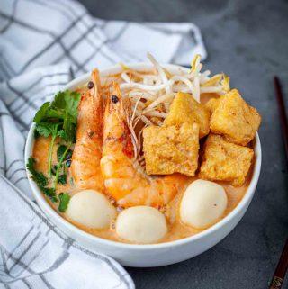 laksa noodle soup with chopsticks