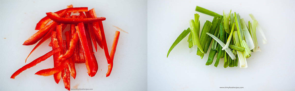 cut red bell pepper and green onion into strips