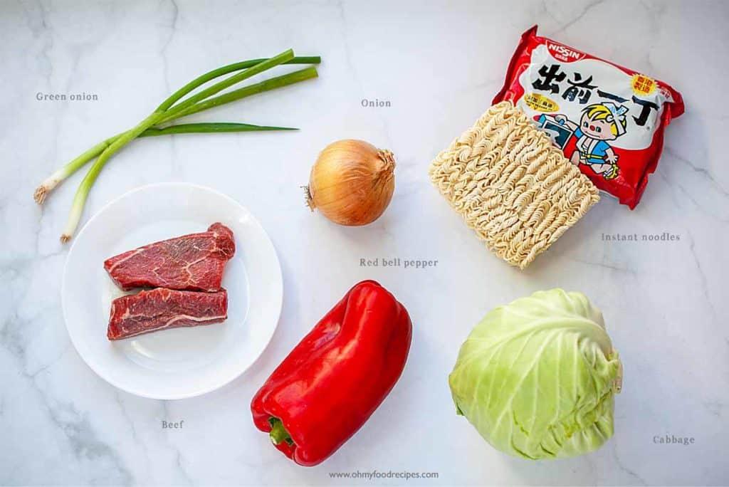 ingredients display for beef stir fry ramen