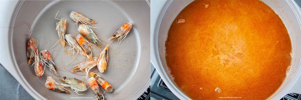 pan fried shrimp heads and make broth