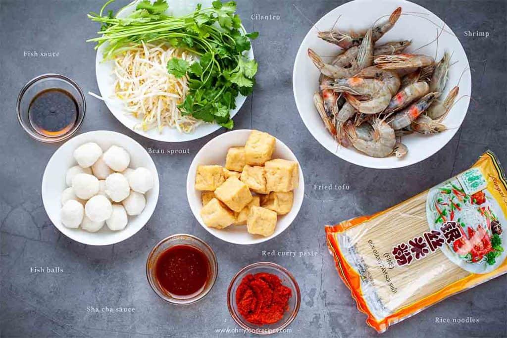 display curry laksa ingredients