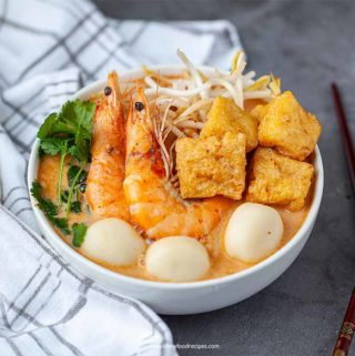 authentic laksa noodle soup with seafood