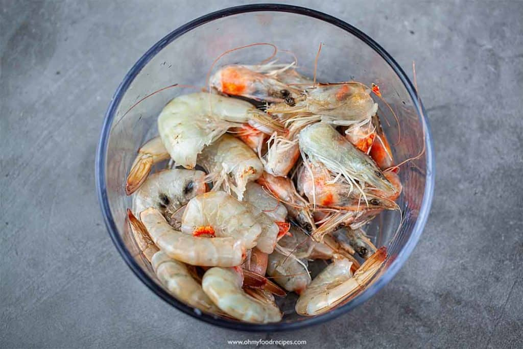 shrimp in a glass container