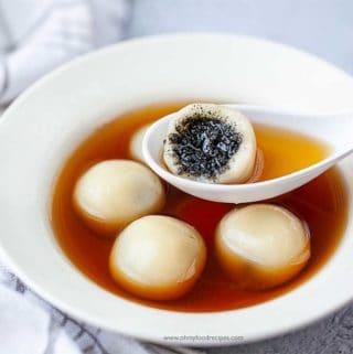 bit off black sesame filling tang yuan