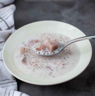taro and tapioca peral dessert scoop on silver spoon