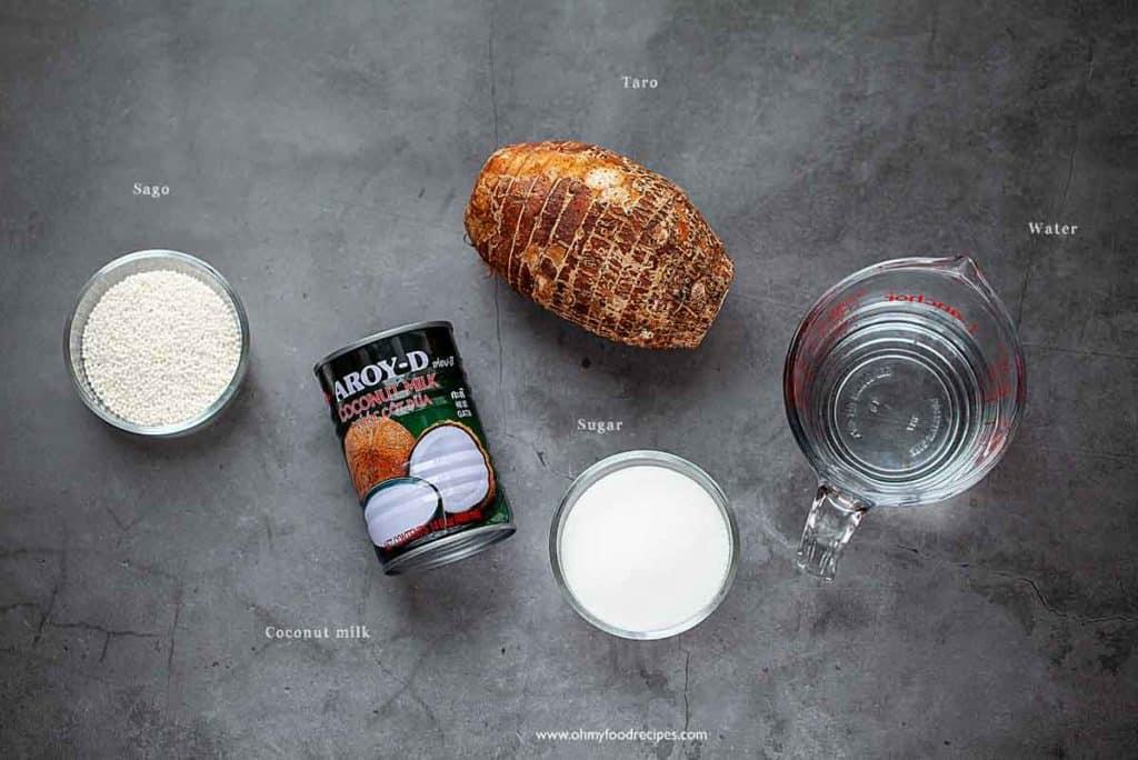 display taro sago dessert ingredients