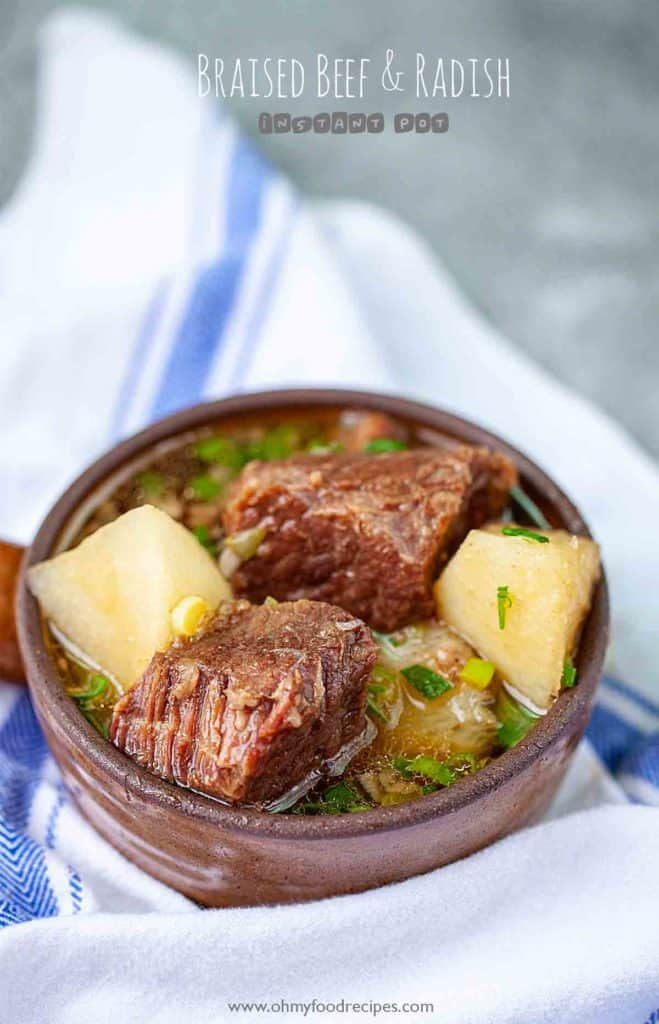Asian beef stew braised beef and radish in a brown pot