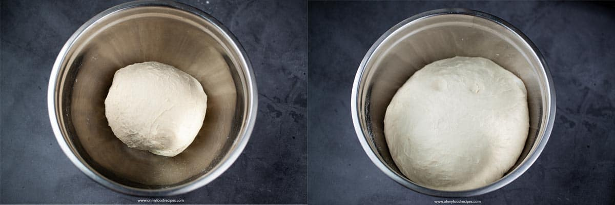 dough rising in a silver bowl