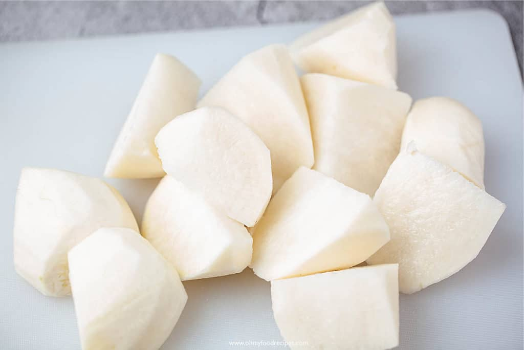 daikon cut into chunks
