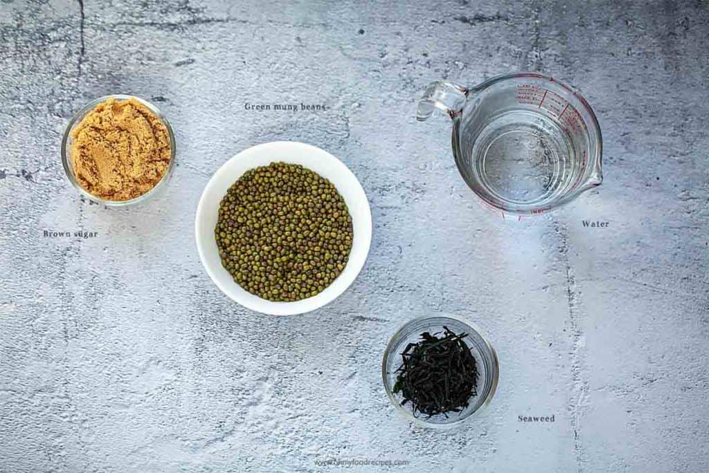 Chinese green mung bean soup ingredients