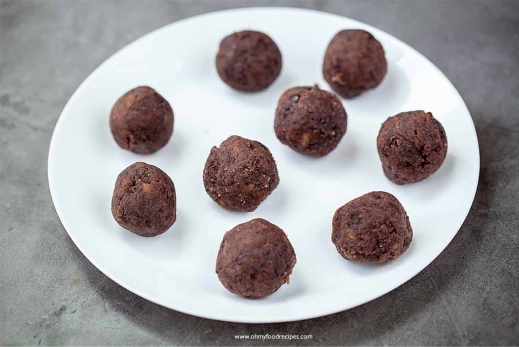 red bean paste balls on a plate