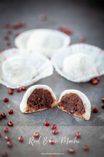 Red bean mochi, lo mai chi, daifuku cut open