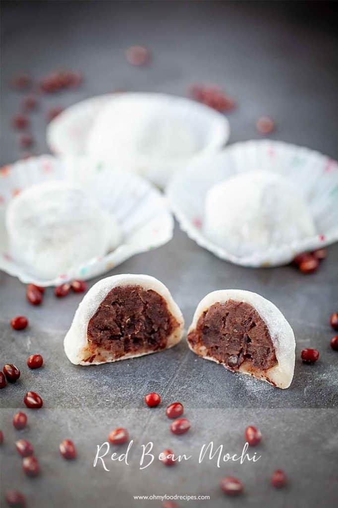 Red bean mochi, lo mai chi, daifuku cut open