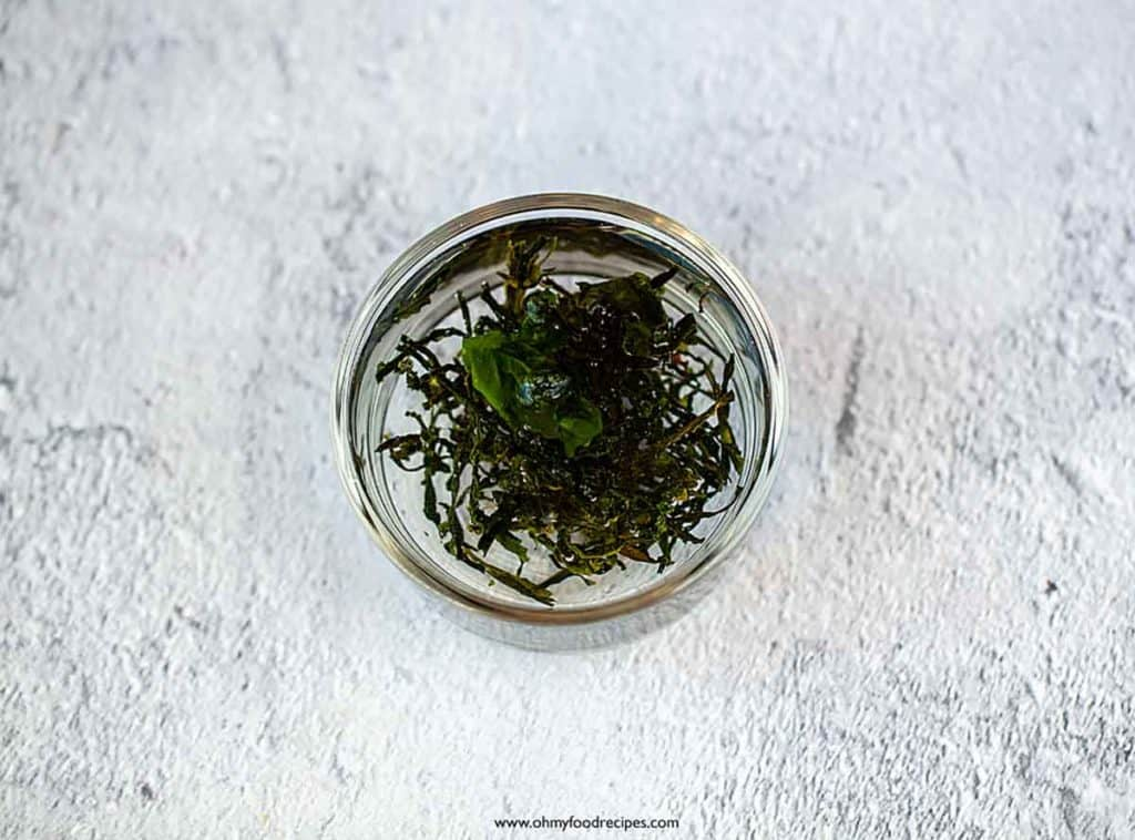 dried seaweeds soak in a glass container
