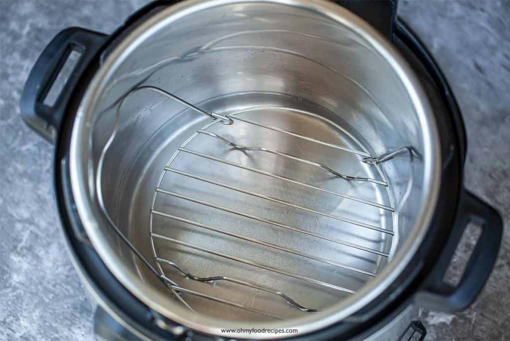 water and rack in pressure cooker