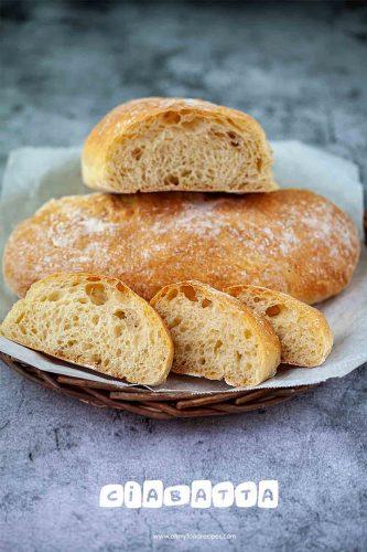 fresh homemade ciabatta bread on a tray