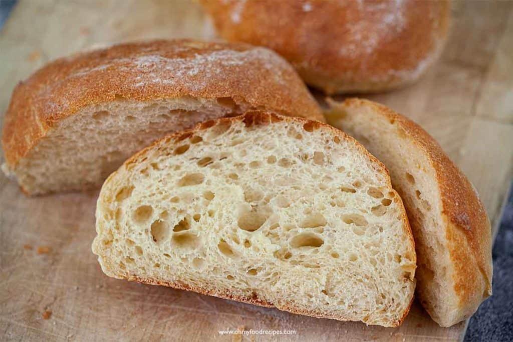 cut up ciabatta bread