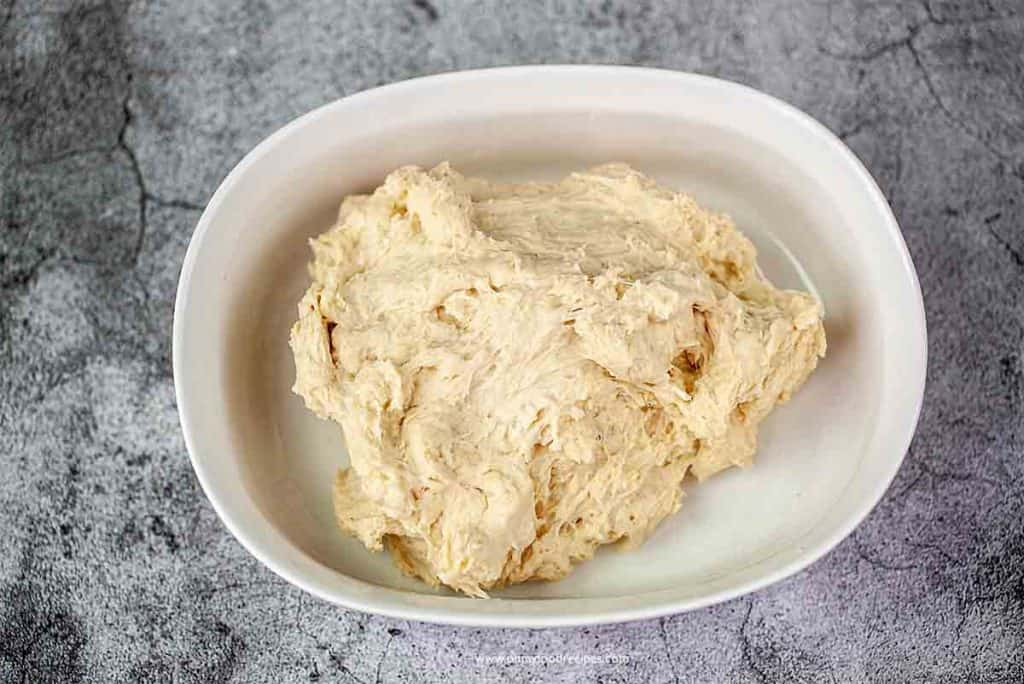 mixed dough in a container